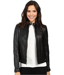 Cole Haan Leather Racer Jacket with Quilted Panels