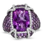 Cushion-Cut Amethyst and White Topaz Ring in Sterl