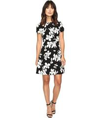 Vince Camuto Short Sleeve Fresco Blooms Flare Dres