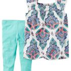 2-Piece Paisley Top & Capri Legging Set