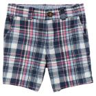 Plaid Flat-Front Twill Shorts