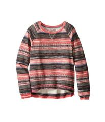 Lucky Brand Printed Striped Sweatshirt in Burnout