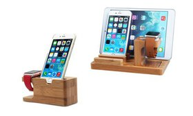 Bamboo Wood Charging Stand Cradle Holder for Apple
