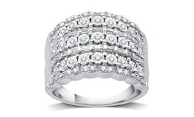 1/2 CTTW Round and Baguette Diamond Ring in Sterli