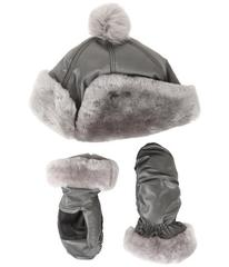 UGG Fabric Pom Hat and Mitten Boxed Set (Toddler/L