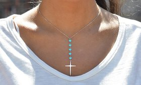 2.00 CTTW Genuine Turquoise Beaded Cross Necklace