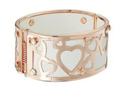 GUESS Wide Bangle with Hearts Overlay