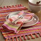Warm Jardin Stripe Table Linen Collection