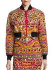 Moschino Embroidered Cropped Cotton Bomber Jacket