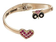 Betsey Johnson Owl & Pave Heart Bypass Hinged Bang