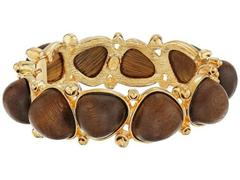 Kenneth Jay Lane Gold with Dark Wood Cabochons Ban