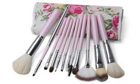 Professional Makeup Brush Set with Floral Travel C on sale at Groupon.com