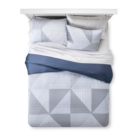 Blue Texture Stripe Duvet Cover Set - Room Essenti