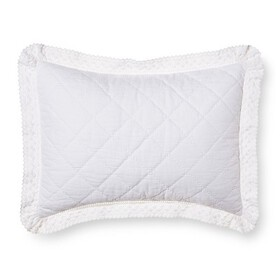 Crochet Trim Linen Blend Pillow Sham - Simply Shab