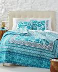 Jessica Simpson Aqua Flora Cotton Quilted Bedding