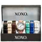 XOXO Crystal Watch with Colored Bands 7 Piece Set