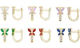 14K Yellow Gold-Plated Kids' Butterfly Crystal Ear