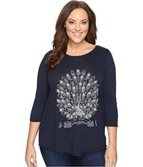 Lucky Brand Plus Size Embroidered Peacock Tee