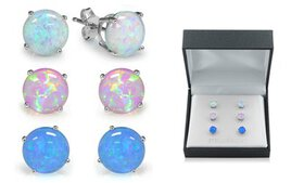 Sterling Silver Trio Blue, White, and Pink Opal Ea