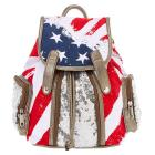 American Flag and Silver Sequins Mini Backpack