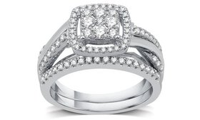 3/4 CTTW Diamond Cluster Bridal Ring Set in Sterli