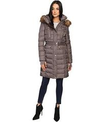 Vince Camuto Belted Faux Fur Trim Wool Coat Remova