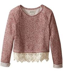 Lucky Brand Popover Top with Lace Trim and Lurex D