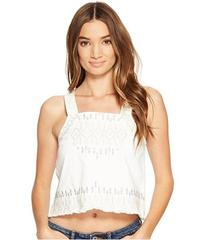 Blank NYC Embroidered Sleeveless Shirt in Snow Fla