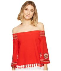 XOXO Smocked Off the Shoulder Embroidered Top
