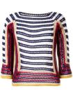 Red Valentino striped, half length sleeve knit top