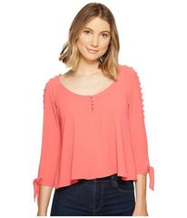 XOXO Button Up Cold Shoulder Top