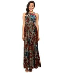 Aidan Mattox Long Metallic Burnout Gown