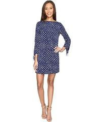 Tahari by ASL Jersey Dot Print Tie-Sleeve Shift Dr