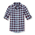 Boys Roll-Up Long Sleeve Plaid Oxford Button-Down