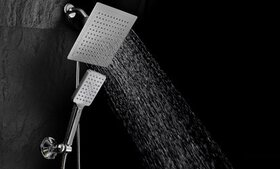 DreamSpa Rainfall Square Shower Combo with Push-Co