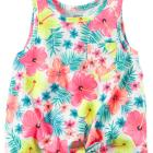 Front-Tie Neon Floral Tank