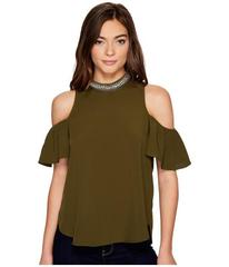 XOXO Trimmed Mock Neck Cold Shoulder Top