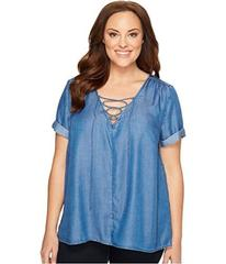Lucky Brand Plus Size Tencel Lace-Up Top
