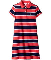 Lacoste Pique Bold Stripe Dress (Toddler/Little Ki