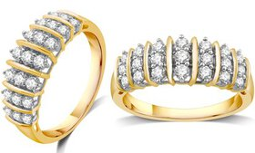 1/2 CTTW Diamond Ring in Gold Plating over Sterlin