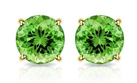 2.00 CTW Peridot Stud Earrings in Solid 10K Gold b