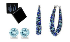 Blue Swarovski Crystal Inside Out Hoops in 18K Whi
