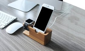Waloo 2-in-1 Bamboo Charging Dock for Apple Watch