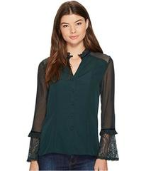 XOXO Contrast Lace Button Up