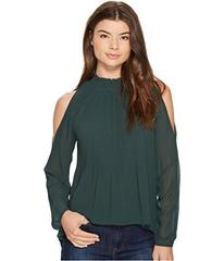 XOXO Pleated Cold Shoulder Blouse
