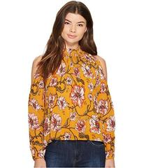 XOXO Printed Pleated Cold Shoulder Blouse