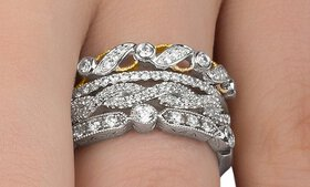 Diamond Stackable Rings in Sterling Silver by DeCa