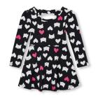 Toddler Girls Long Sleeve Printed Cutout Bow-Back