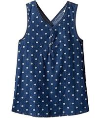 Splendid Littles Printed Denim Cross Back Tank Top