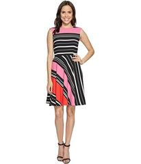 Tahari by ASL Crepe Multi-Stripe A-Line Dress